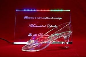 結婚式のウェルカムスペースをガラスの靴でロマンチックに